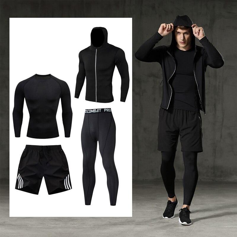 Conjunto de roupas masculinas fitness halterofilismo roupas compressão collants de secagem rápida 2-4 peças conjunto de roupas esportivas jogging terno senhores