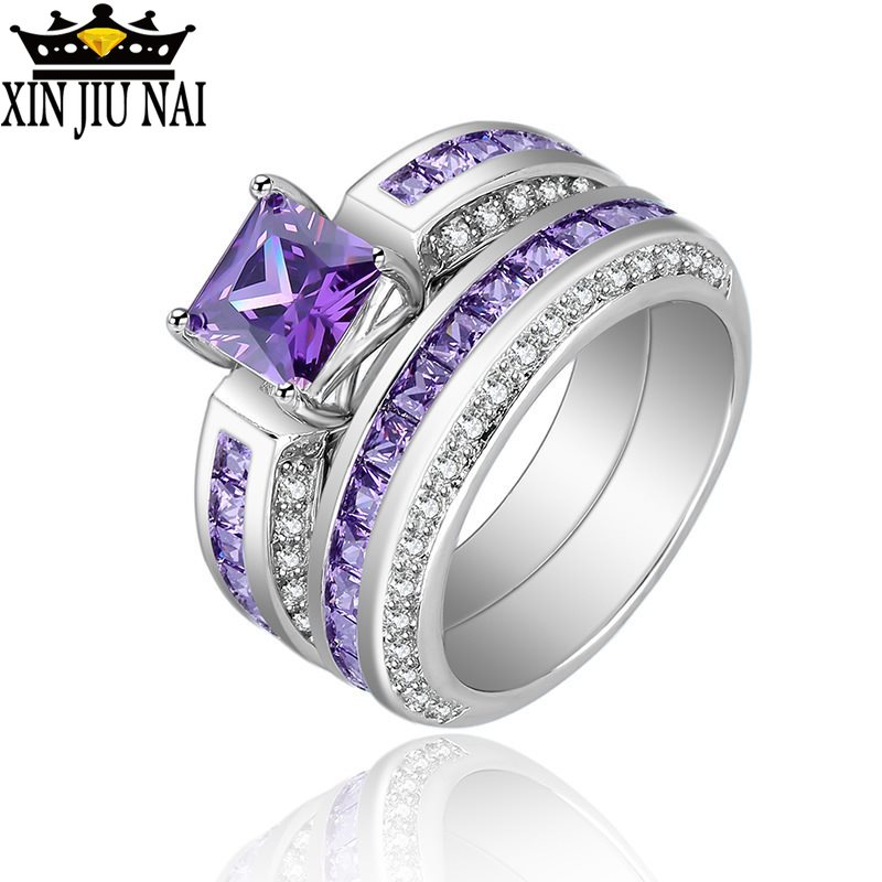 Hot Sale 2 Pieces/Set Natural Purple Rhinestone Ring Fine Jewelry For Women Rhinestone color zircon ladies ring silver 925 jade