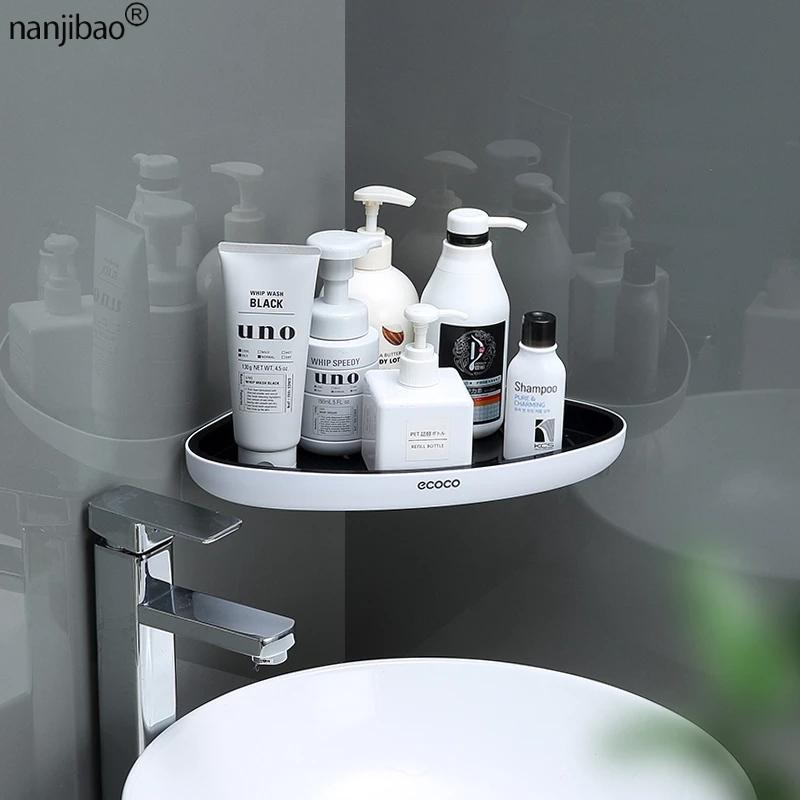 Free Punching Shelf Bathroom Organizer Wall Mounted Triangular Shelf Shampoo Cosmetic Storage Rack Bathroom Accessories