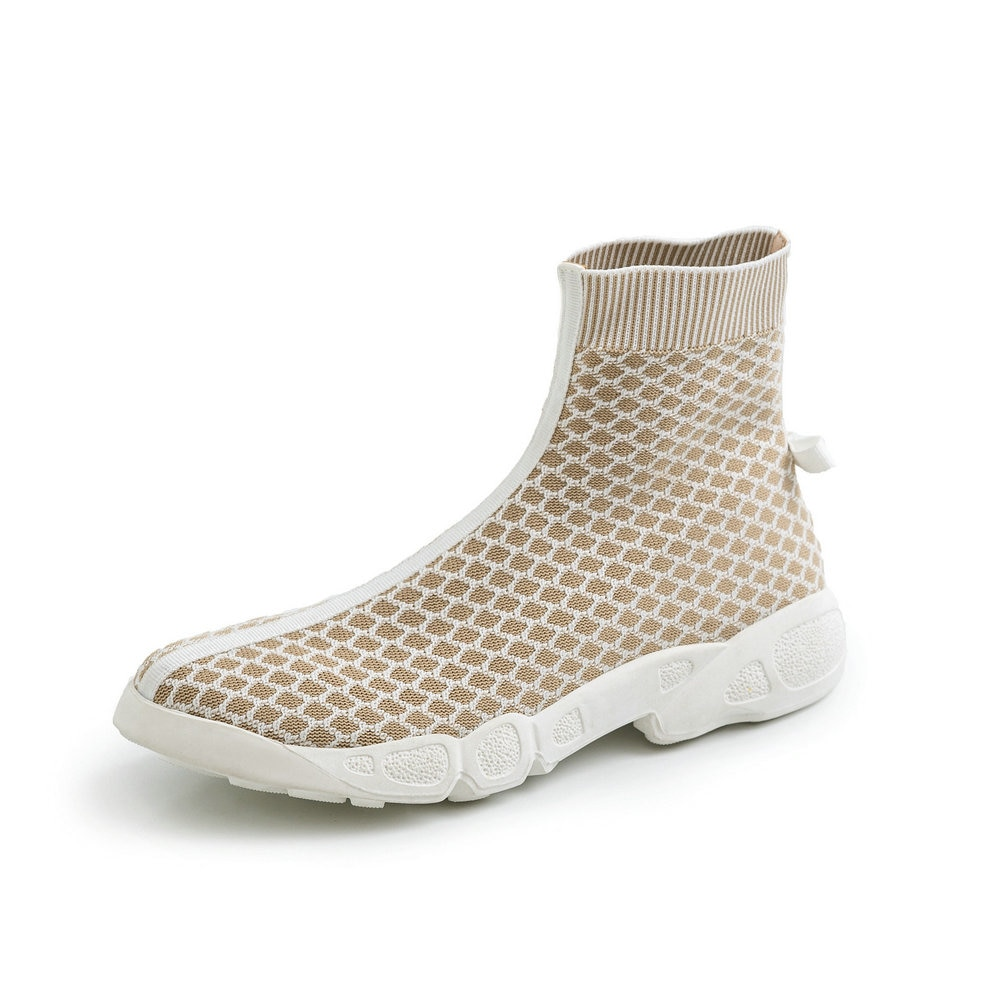 Nuevos calcetines de marca de lujo para mujer botas de diseñador de rayas de cebra zapatos de mujer botas altas de media pantorrilla elásticas delgadas botas planas