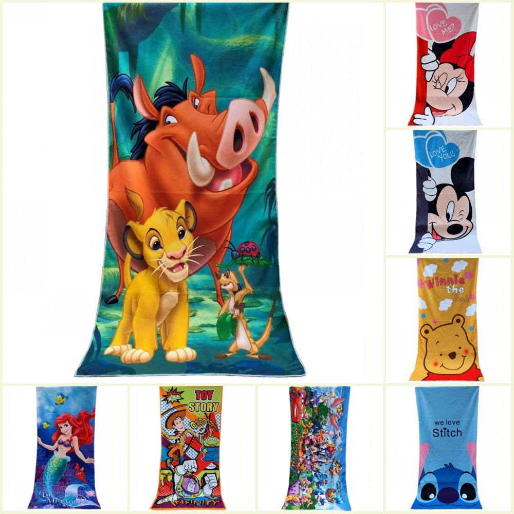 Disney Baby Simba Lion King Winnie Cute Stitch Microfibre Home Baby Bath Beach Towel Polyester Children Swimming Towel 70X140cm