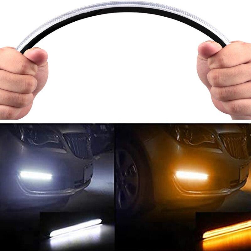 Светодиодные Автомобильные дневные ходовые огсветильник, 2 шт., универсальные автомобильные фары с желтым указателем поворота, прямоугольн...