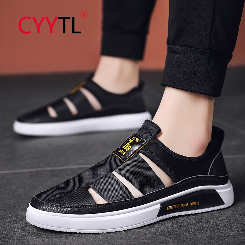 CYYTL Leather Men Sandals Walking Outdoor Closed Toe Shoes Summer Breathable Beach Slippers Comfrot Slip on Sport Flip Flops
