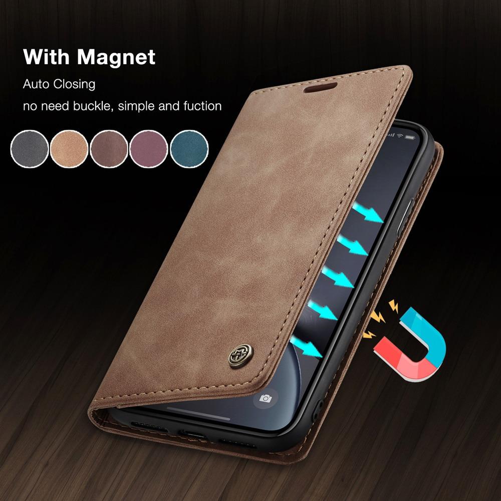 CaseMe carcasa Retro de cuero munodero de cuero caso para iPhone 11 Pro X XR XS Max magnético funda de tarjeta monedero para iPhone SE 2020 8 7 6 6S Plus 5 5S