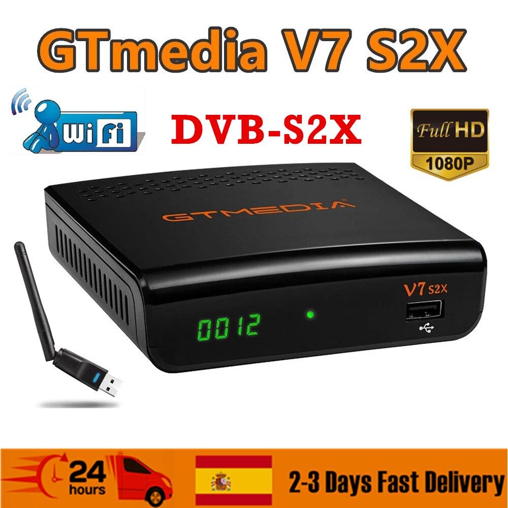 FTA 1080P Gtmedia v7 s2x DVB-S2 استقبال الأقمار الصناعية مع usb واي فاي gt وسائل الإعلام v7s2x مستقبلات رقمية ترقية Freesat v7s HD لا app