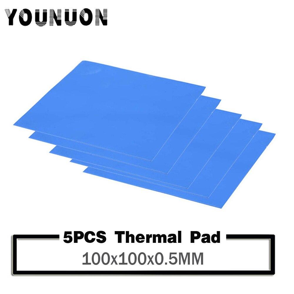 new gpu cpu heatsink cooling conductive silicone pad ic heat dissipation 100mm 100mm 1mm thermal pad high quality 5pcs YOUNUON 100x100x0.5mm Thermal Pad GPU CPU Heatsink Cooling Conductive Silicone Pad 0.5mm thickness thermal pad