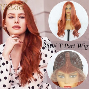 YYsoo #350 Color Long Futura Synthetic Hair T Part Wigs For Women Japan Heat Resistant Fiber 13x2 Futura Lace Front Wavy Wigs