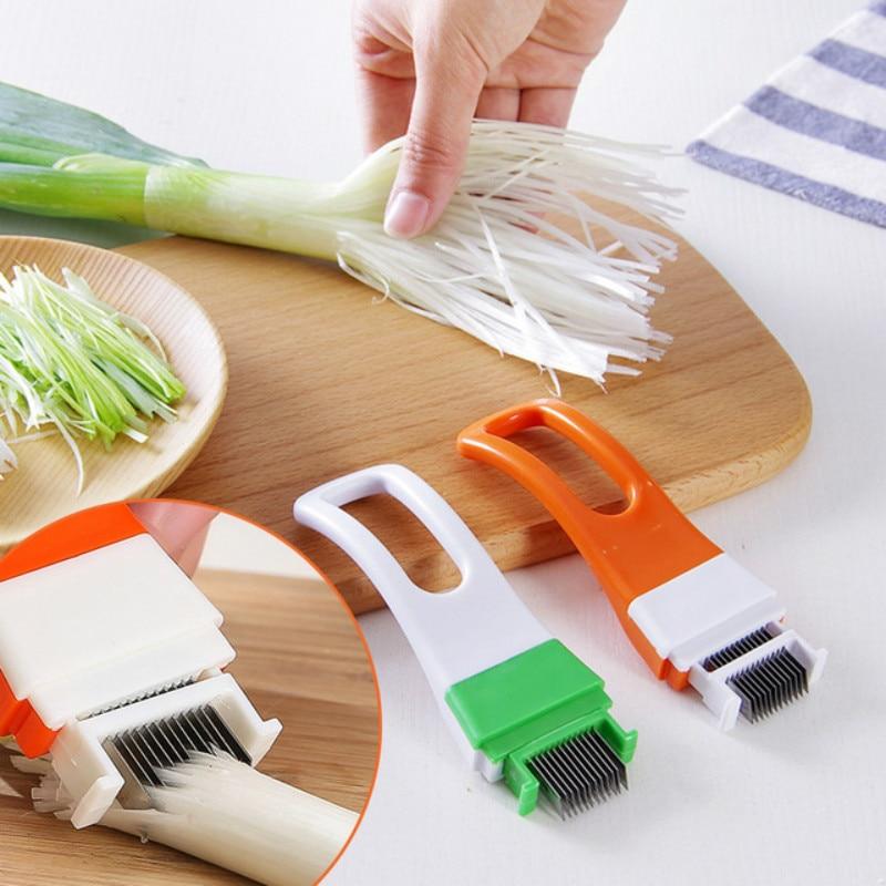 Cortador de vegetales y cebolla, multi chopper, Scallion, utensilios de cocina con cuchillas para triturar rebanadas, cubiertos, utensilios de cocina de color aleatorio 1 unidad