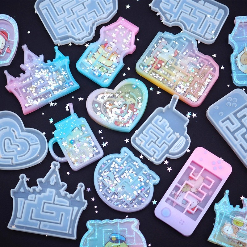 Moldes de silicona para laberinto, DIY, con forma de corazón, laberinto, resina UV, accesorios de joyería, forma de cámara de Castillo