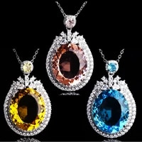 fashion charm pendant necklace geometric exquiisite jewelry inlay exaggeration oval cubic zirconia for women party birthday gift