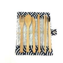 Ensemble de couverts de voyage en bambou   Fourchette, couteau en bambou, cuillère baguettes paille, pochette de transport Portable avec mousqueton, ensemble dustensiles en bois