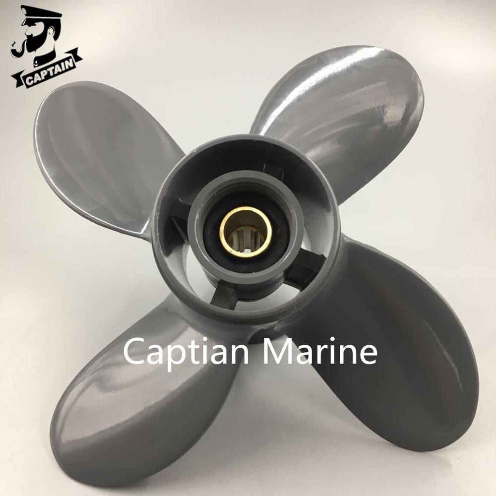 Captain المروحة 4 شفرات ، 9 1/4X11 ، متوافقة مع Honda و Yamaha Outboard BF8D/BF9.9D BF9.9/BF15A BF15D/BF20 8 spline 58134-ZV4-011AH