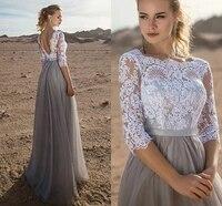 vintage top lace open back evening dress half sleeves bateau neck long prom party gown robe de soiree vestidos