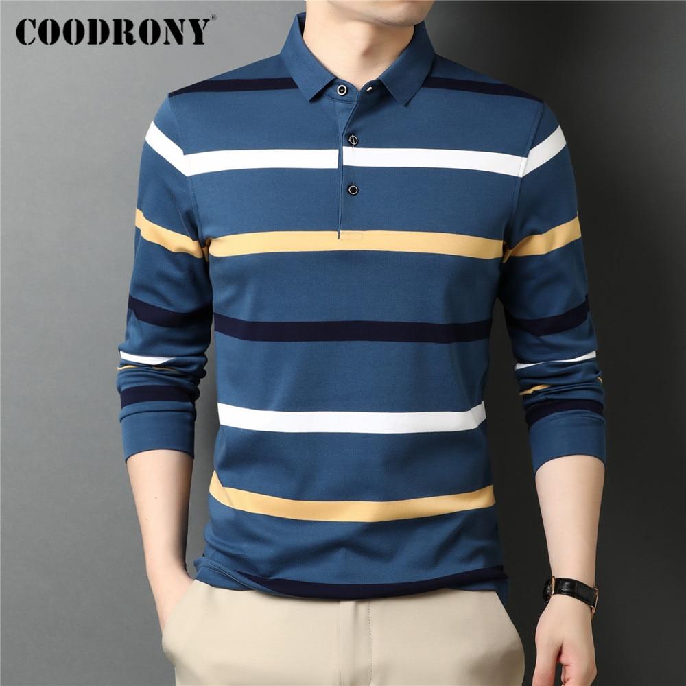COODRONY ماركة ربيع الخريف جديد وصول 100% القطن الأعمال عادية التباين اللون مخطط طويل الأكمام بولو قميص الرجال العلوي C5072