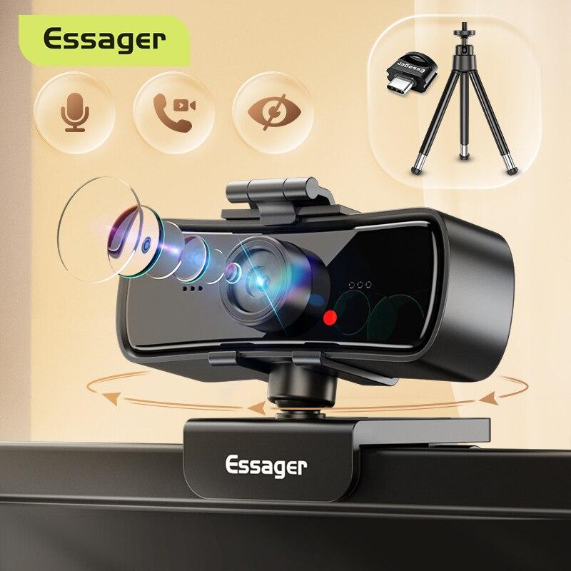 Essager C3 1080P كاميرا 2K كامل HD كاميرا الويب عصر ل جهاز كمبيوتر شخصي محمول USB كاميرا الويب مع ميكروفون أوتوفوكس WebCamera ل يوتيوب