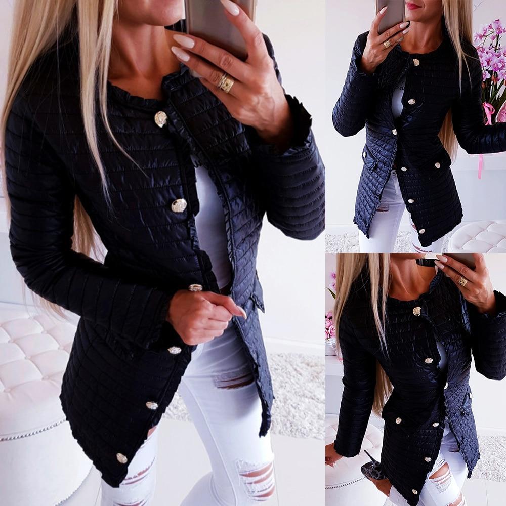 Abrigo de invierno mujer parka chaqueta femenina elegante chaquetas negras abrigos delgados ropa de calle con bolsillos prendas de vestir abrigo largo manteau femme D25