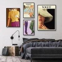 Toile dart mural moderne Vintage  mode Vogue  edition printemps automne  peinture sur toile  images murales pour salon  maison  sans cadre