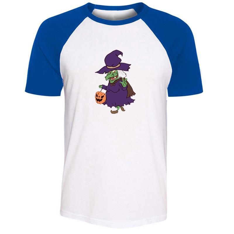 Camiseta de algodón de manga corta con dibujo de bruja voladora dulce o truco de Halloween calabaza doble hacha Tomahawk chicos estampado gráfico