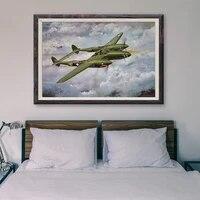 T118     peinture classique retro 61 operations de vol davion de guerre  affiche en soie personnalisee  decoration murale  cadeau de noel