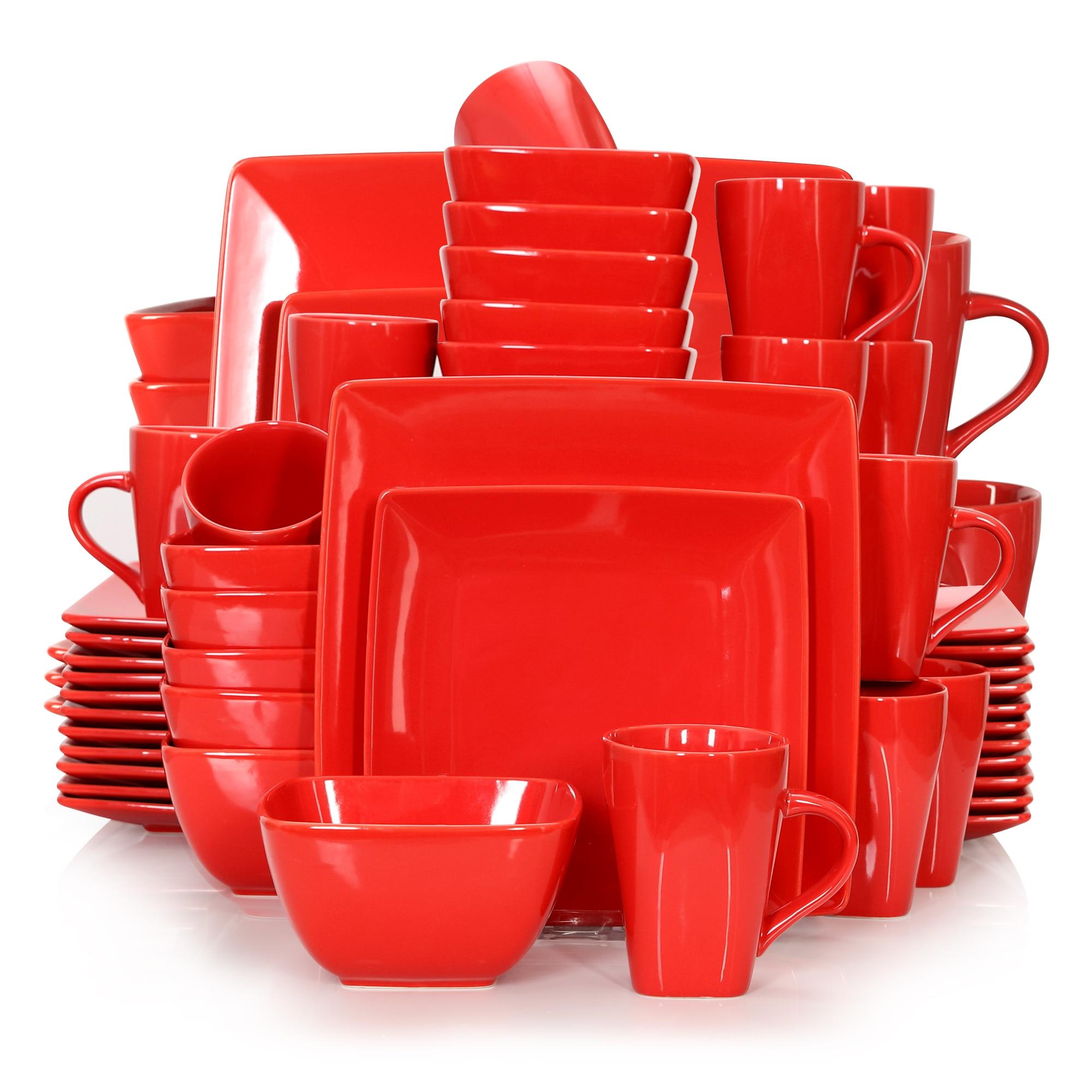 Vancasso SOHO 16/32/48-Piece Red Ceramic Porcelain Square Dinnerware Set with Dinner Plate,Dessert Plate,Bowl,240ml Mug Set