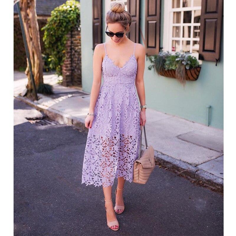 فستان صيفي طويل من الدانتيل الأبيض ، بلا أكمام ، ياقة على شكل v ، خصر مرتفع ، للحفلات