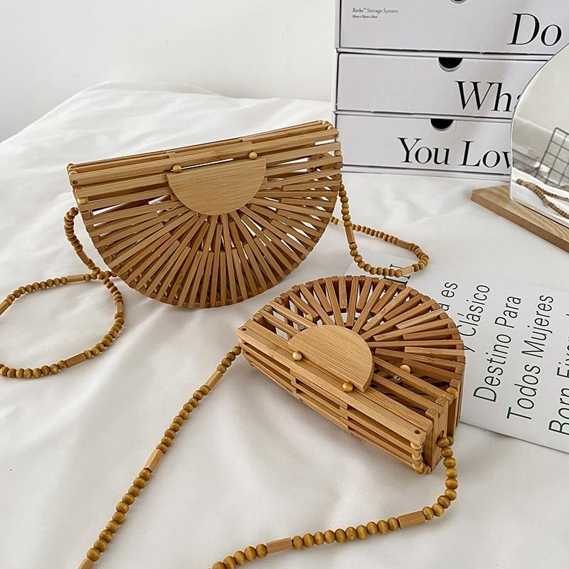 AliExpress - Fashion Half Moon Wooden Shoulder Crossbody Bags for Women Bamboo Woven Summer Beach Straw Bag Rattan Small Phone Purse Mini Sac