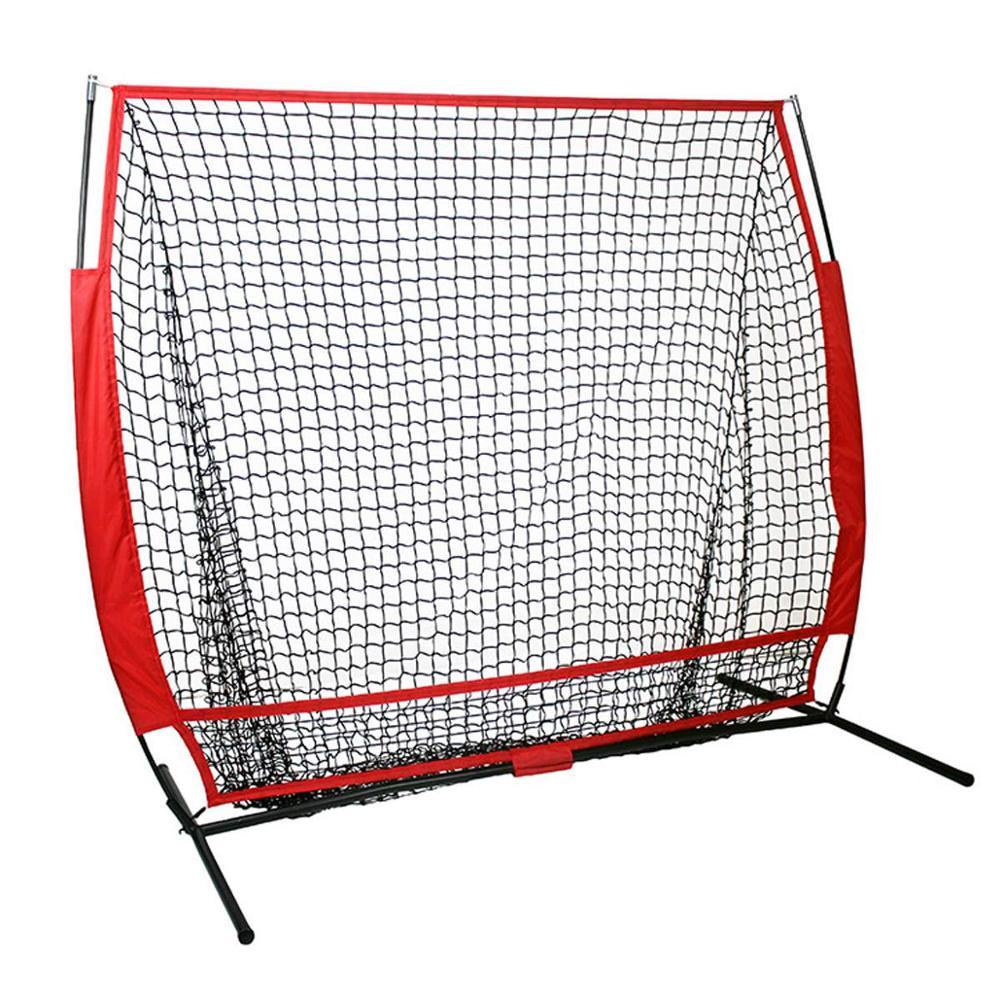 شبكة تدريب كرة البيسبول اللينة 5 × 5 قدم مع إطار ضرب ضرب الضرب اصطياد الظهر معدات التدريب منطقة الضربة F