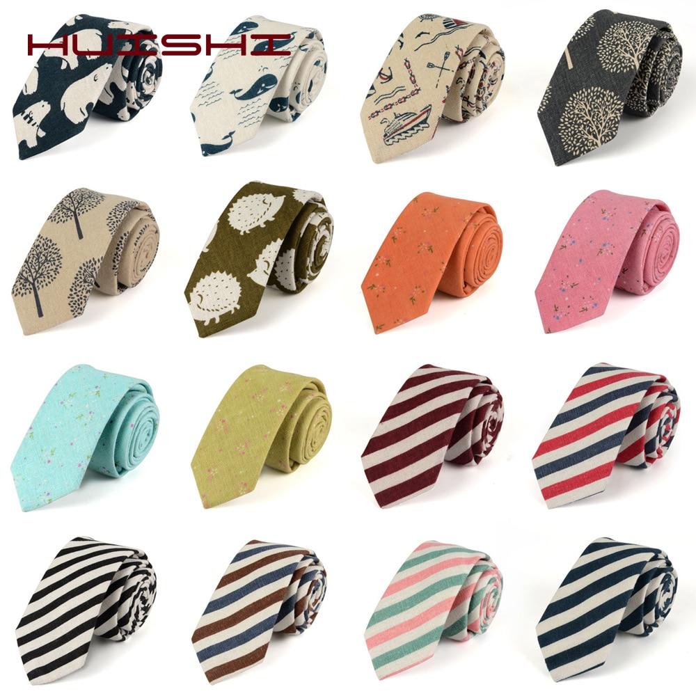 HUISHI Men Cotton Stripe Necktie 6cm Narrow Formal Male Tie Check 100% Cotton Skinny Neck Tie Fashion For Boy Friend Man Gift