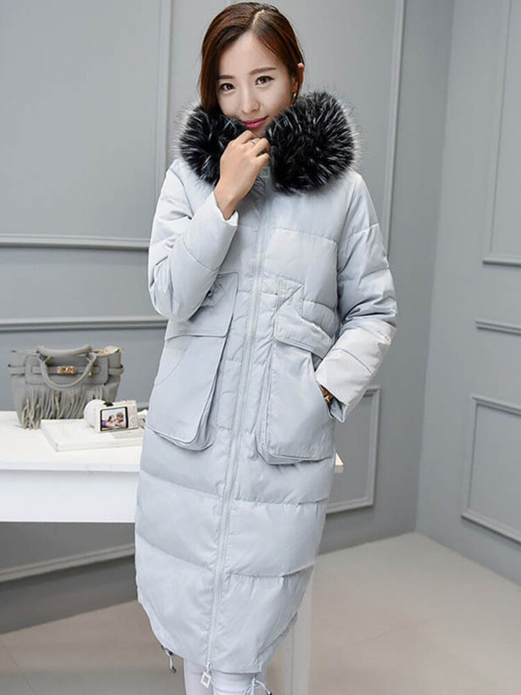 2021 plus size winter outerwear woman duck down coat with genuine real fur hoodie lady oversize parka black gray 3xl 4xl 5xl 6xl