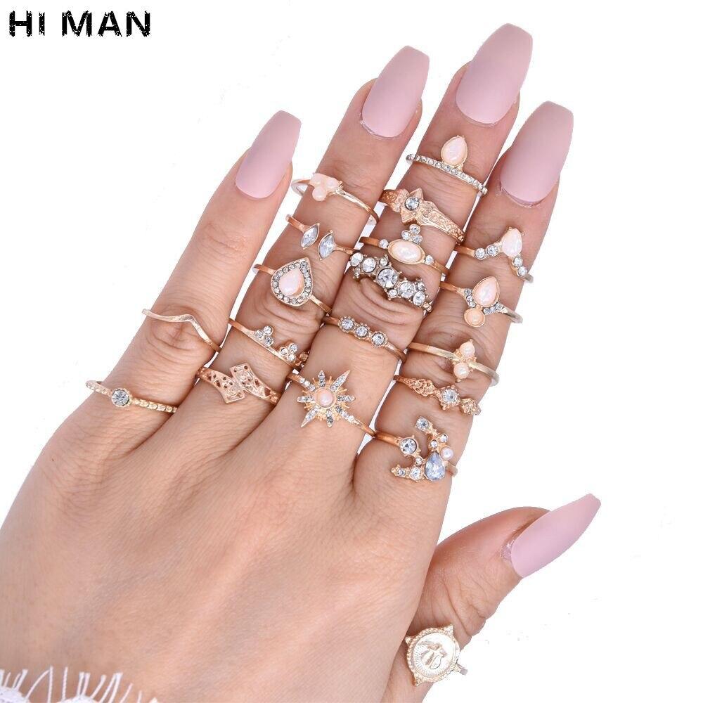 19 unids/lote Bohemia nuevo diseño gota de agua estrella de seis puntas incrustaciones de cristal conjunto de anillos de Unión anillo de joyería de moda para mujer