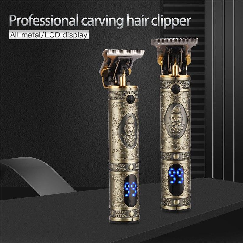 Rechargeable haircut Barber Hair Clipper Trimmer Electric beard LCD Display Hair Cutting Machine Men Baldheaded T-blade Trimmer