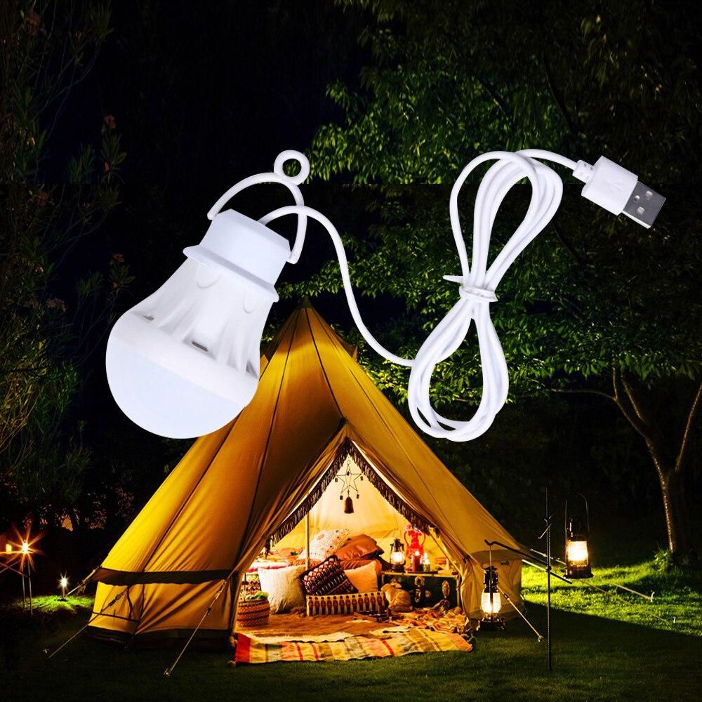 Portable USB LED Lamp Bulb Mini Camping Lantern 5V Hanging Tent Fishing Night Light Book Reading Powerbank Birght Table Lamp 50