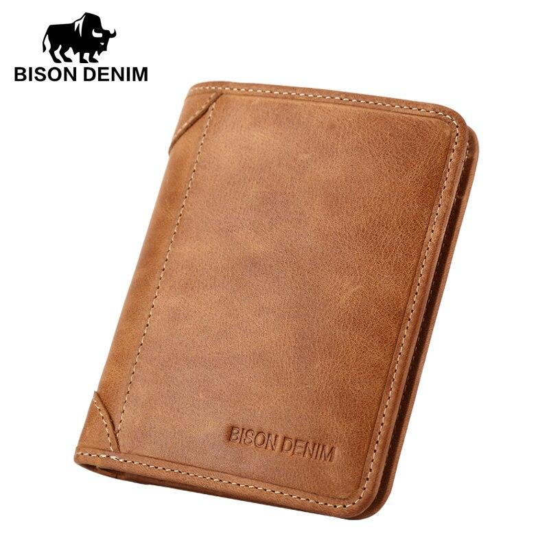 BISON DENIM-محفظة رجالية من الجلد الطبيعي ، محفظة بتصميم عتيق ، حامل بطاقات