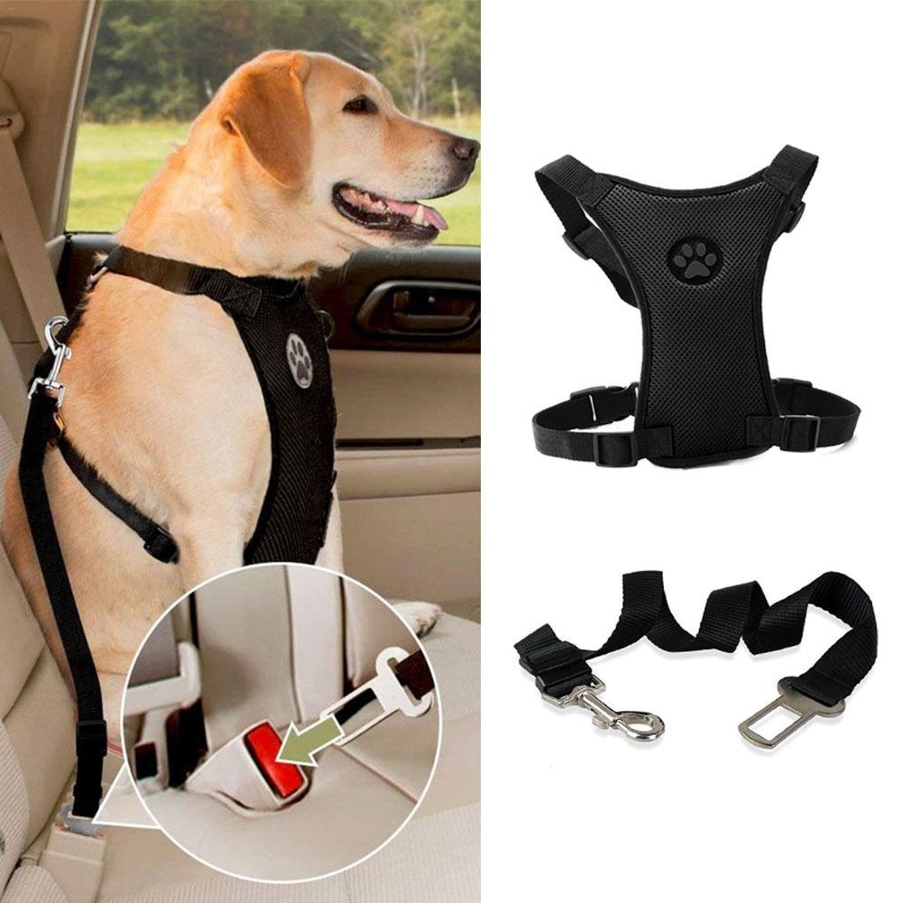 Arnês do cão Leash Cinto de Segurança de Segurança Do Carro Malha Cinta Multi-função Respirável Pet Fornecimentos