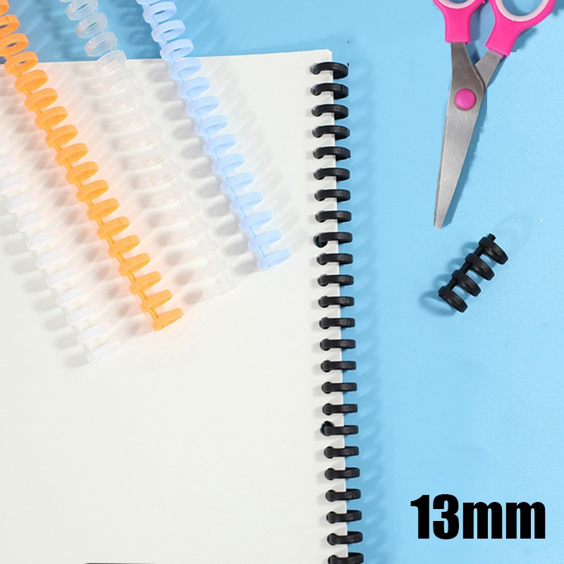 Fita plástica obrigatória de 13mm 30 furos diy espiral anel bobina caderno bloco de notas pastas de papel loose-leaf booking binder para o miúdo da escola
