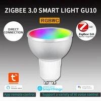 Zigbee     ampoule LED intelligente 3 0  fonctionne avec Alexa  Google Home  Tuya  application Smart Life  commande vocale  Gu10  5W  RGBCW  maison intelligente