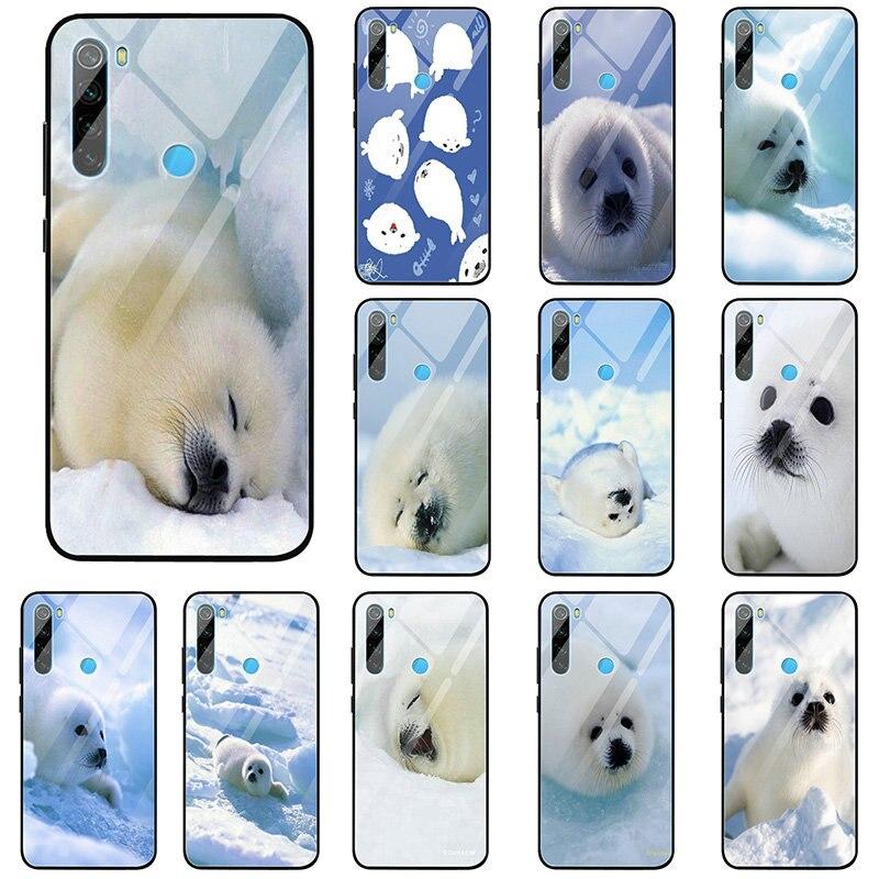 Para Xiaomi Mi A1 A2 Redmi Note 4 4X 5 6 7 8 9 SE Lite Pro lindo vidrio templado fundas de teléfono móvil Animal blanco Harp
