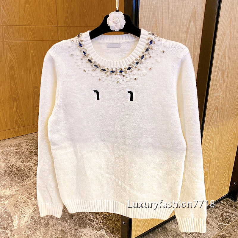 High end fashion women fall 2021 sweater Letter jacquard logoed diamands Crew neck long sleeve woman sweaters clothing pullover enlarge