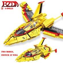 BZDA Ultraman combattant blocs avion briques hélicoptère briques modèle peut être changé de deux façons briques enfants jouets cadeau garçons cadeau