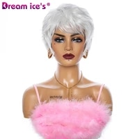 dream ices short wave wigs for mother white hair bob wigs with bangs synthetic natural heat resistant fiber cosplay white women