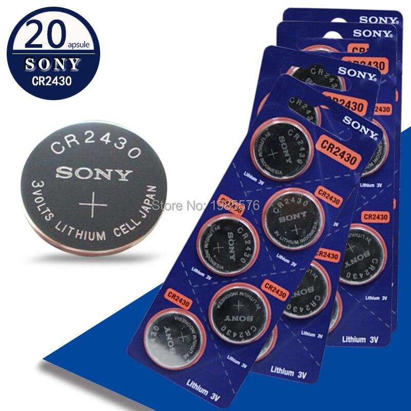 Batería de botón Sony CR2430 3V CR 2430 de 20 unidades por lote, nueva y genuina llave de Control remoto para coche, batería de celda de moneda Camry