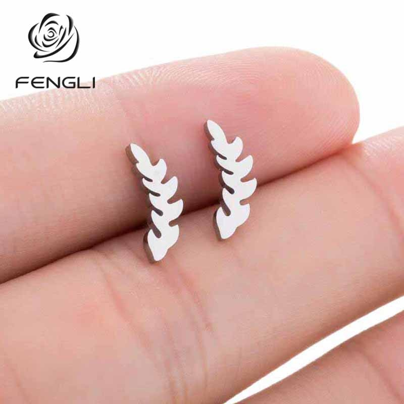 FENGLI Fashion Mickey Stud Earrings for Women Willow Branch Kids Jewelry Stainless Steel Mother Roma