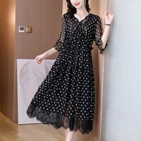 2021 summer black dot mulberry silk maxi dress women casual vintage lace beach vacation midi dress elegant slim party vestidos