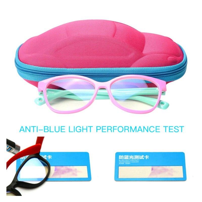 Luz Azul niños óptico marco gafas niño niñas ordenador bloqueo claro Anti reflectante gafas + caja + tarjeta de prueba