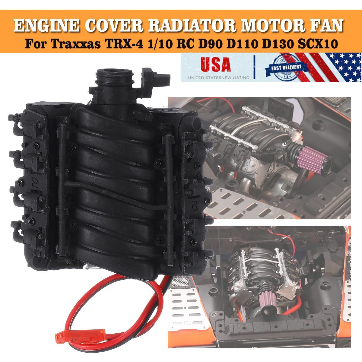 Motor Simulador de radiador GRC Motor ventilador de refrigeración Dual para Traxxas TRX-4 1/10 RC D90 D110 D130 SCX10 Motor de simulación Corvette