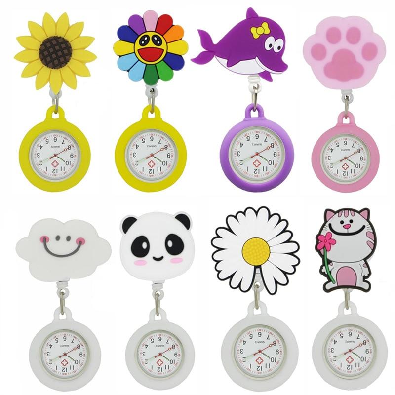ALK Silicone Nurse Watches Cute FOB Pocket Nurse Watch Medical Stretchable Watches Round Dial Nurse Clocks Fashion Doctor Gift