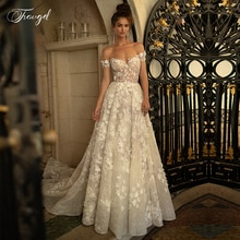 Traugel Strapless A Line Lace Wedding Dresses Elegant Off Shoulder 3D Flower Backless Beach Bridal Dress Court Train Bride Gown