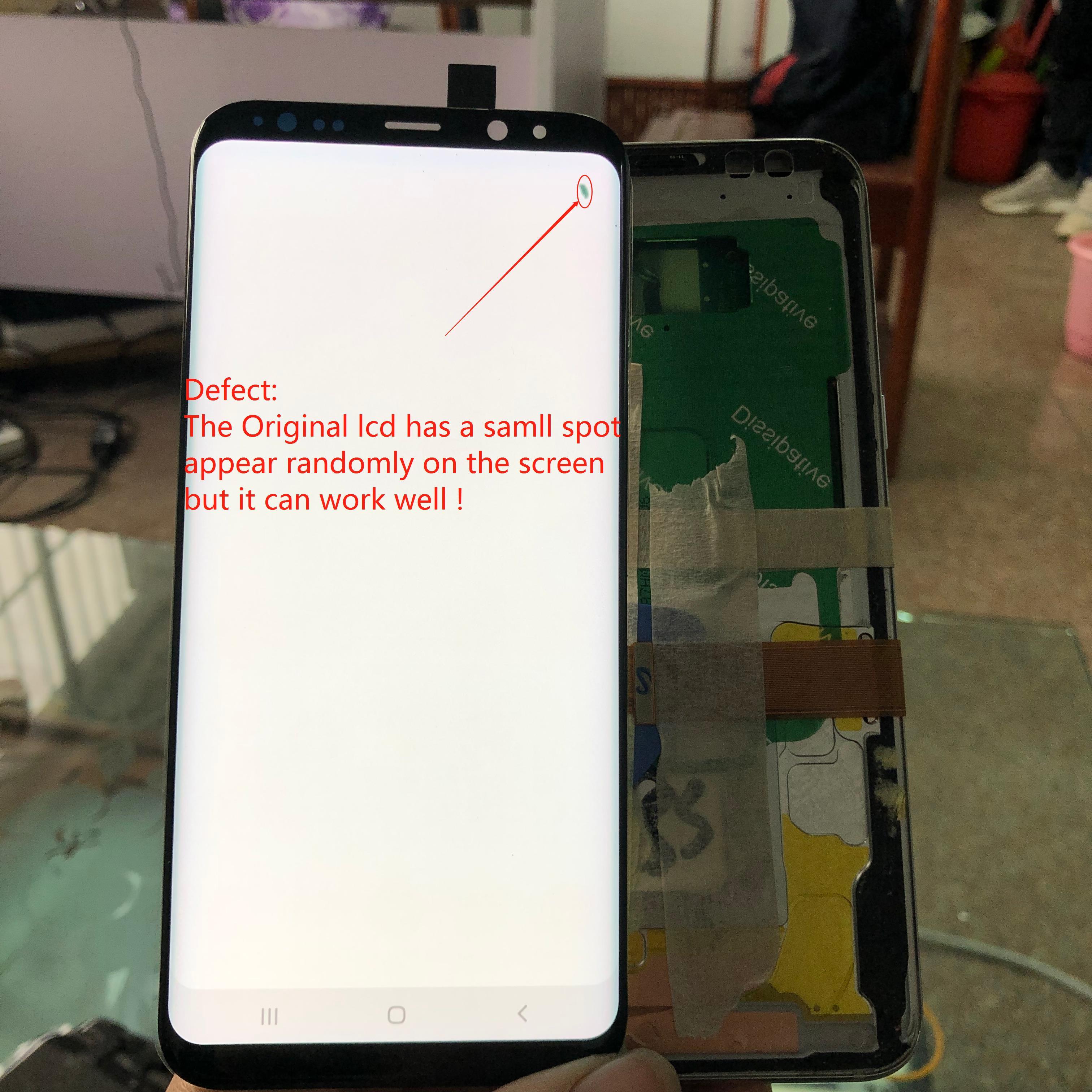 LCD Amoled Original para Samsung Galaxy s8 + plus G955 G955F pantalla LCD + MONTAJE DE digitalizador de pantalla táctil con una pantalla spot + frame