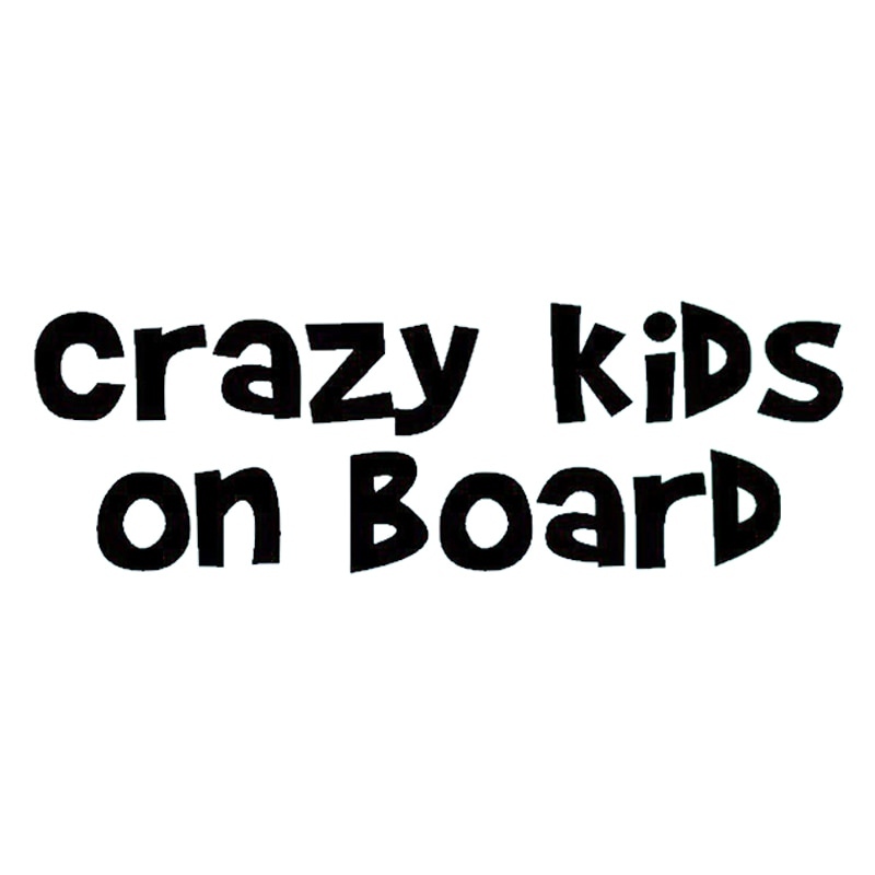17*5.7cm CRAZY KIDS ON BOARD Sticker Funny Car Window Bumper JDM VAN Novelty Vinyl Decal