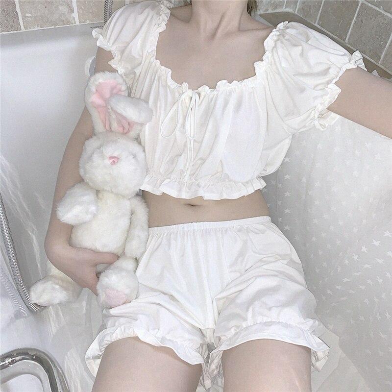لطيف اليابانية الأبيض بيجامة مجموعات المرأة القطن الملابس الداخلية مثير ملابس خاصة تي شيرت والسراويل 2 قطعة لفتاة عارضة Homewears ملابس